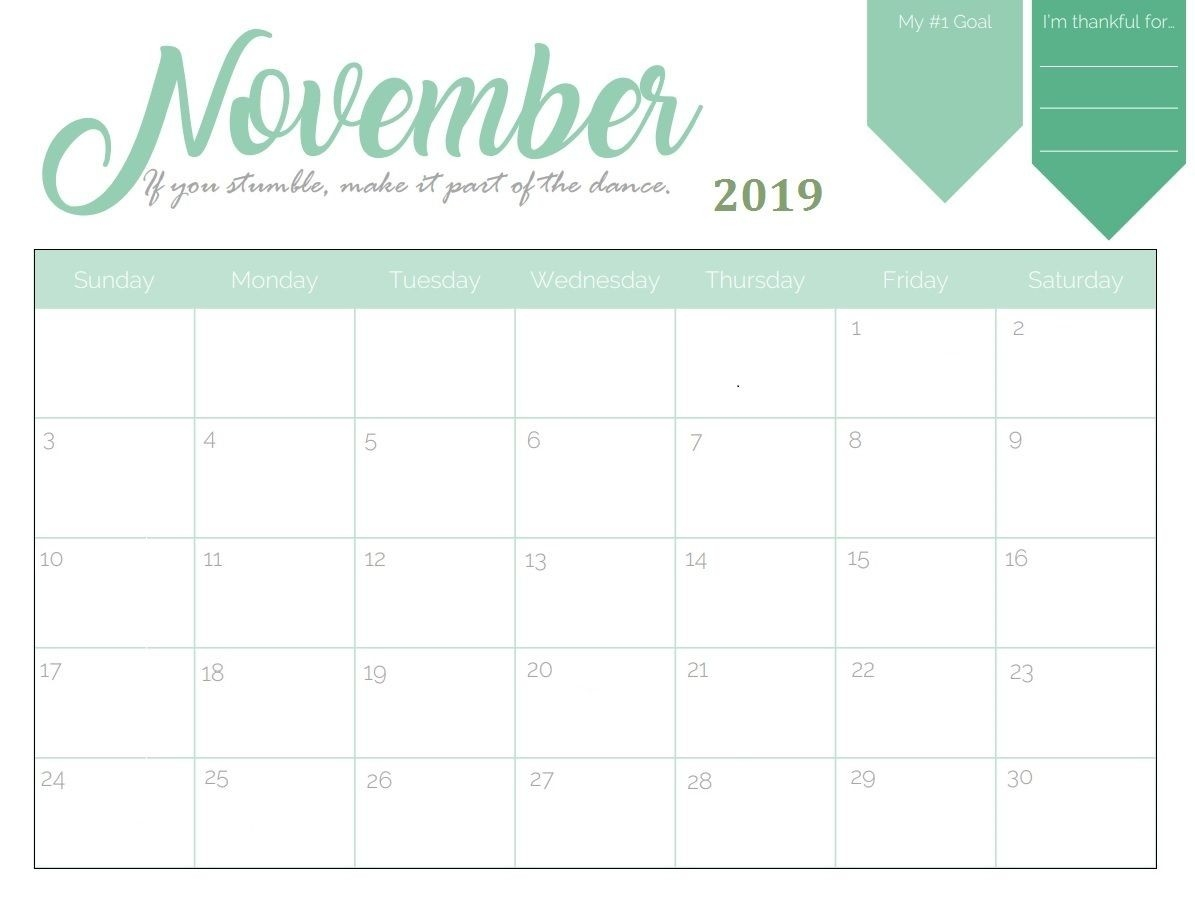 Printable November 2019 Goal Planner Calendar In 2019-Monthly Goal Calendar Template