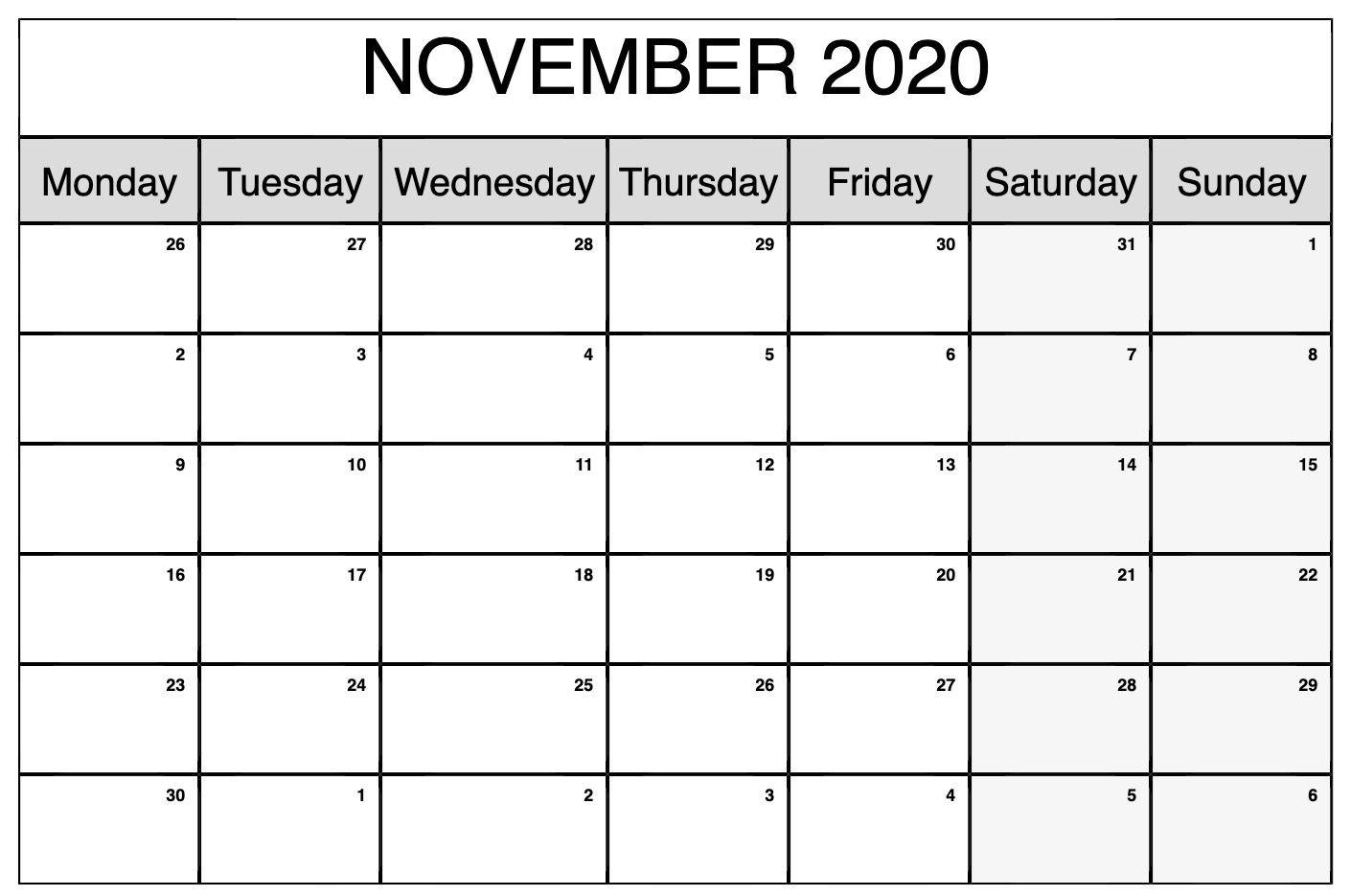 Printable November 2020 Calendar | November Calendar-Blank Calendar For August 2020/monday-Friday