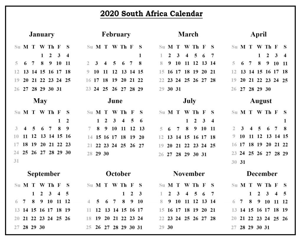 Printable South Africa Calendar 2020 | Printable Calendar Diy-South Africa Holidays 2020