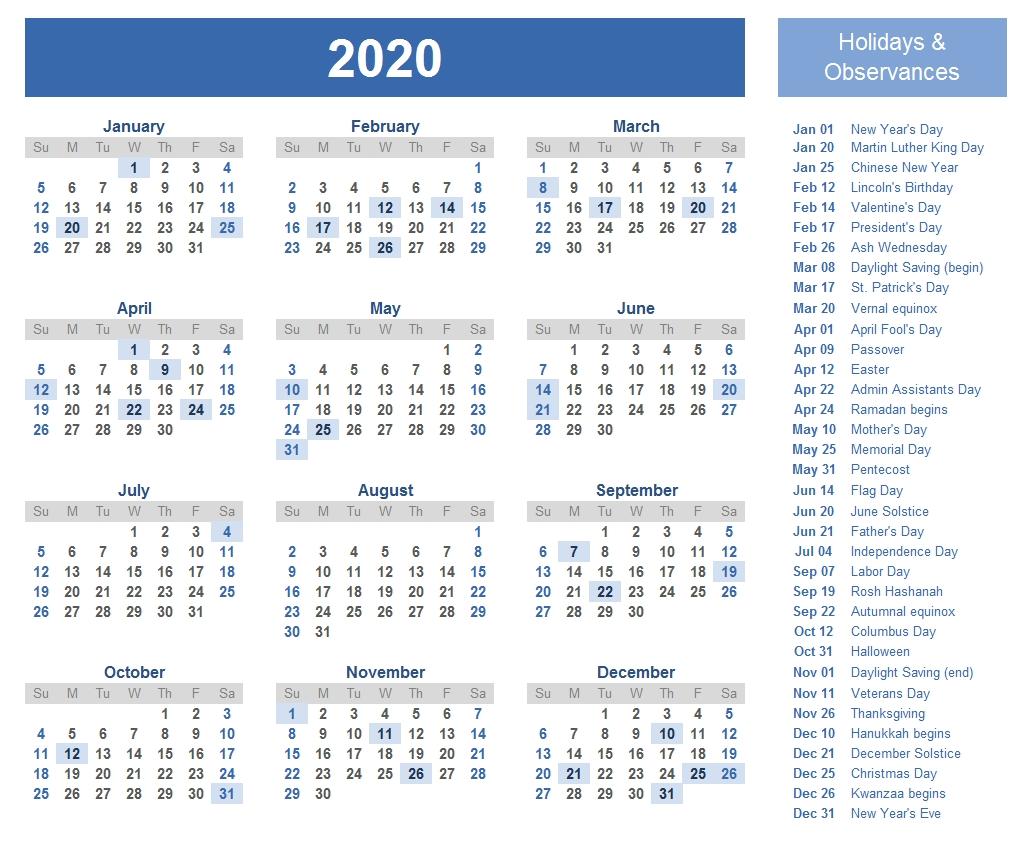 Printable Template Calendar-Jewish Holidays 2020 Calendar