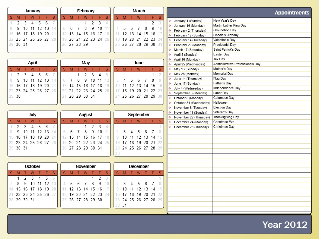Printing A Yearly Calendar With Holidays And Birthdays-Blank Yearly Calendar Template In Word 2003