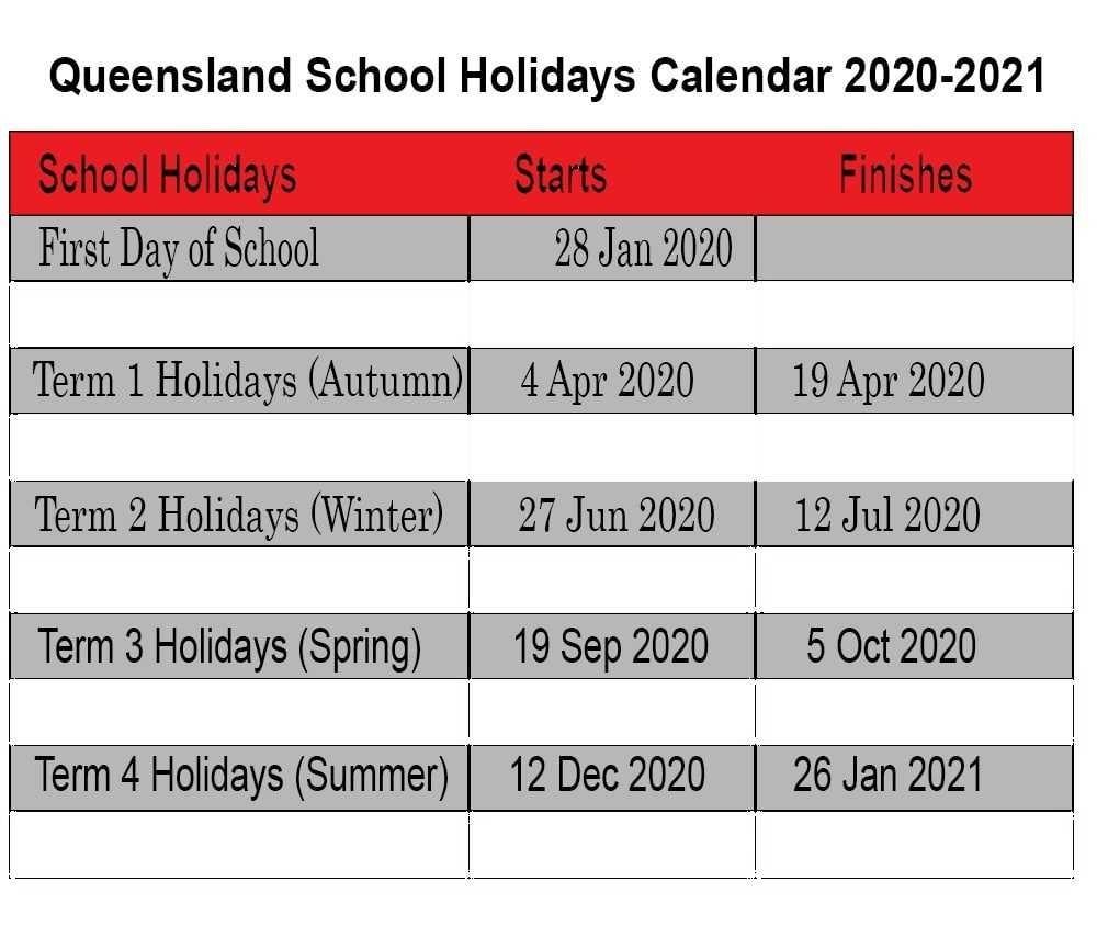 Qld [Queensland] School Holidays Calendar 2020-2021 | Best-2020 Printable Qld School Holidays