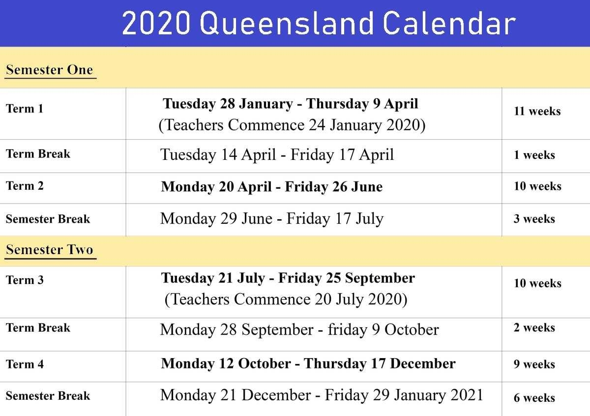 Queensland-2020-Calendar-1 | Best Letter Template-2020 Printable Qld School Holidays