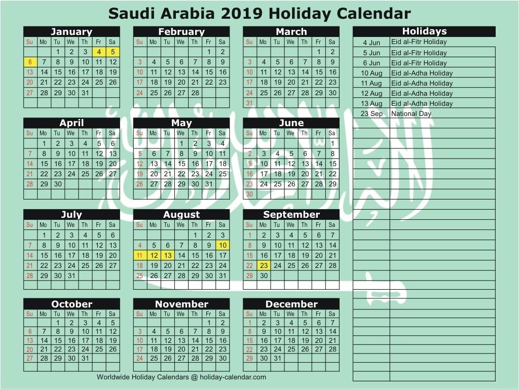 Saudi Arabia 2019 / 2020 Holiday Calendar-Saudi Bank Holidays 2020