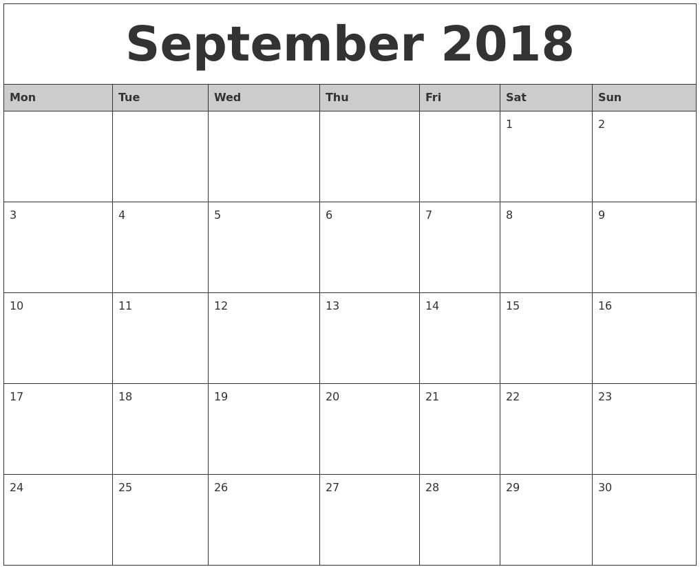 September 2018 Monthly Calendar Printable Monday Start-Blank Calander Print Out Starting Monday