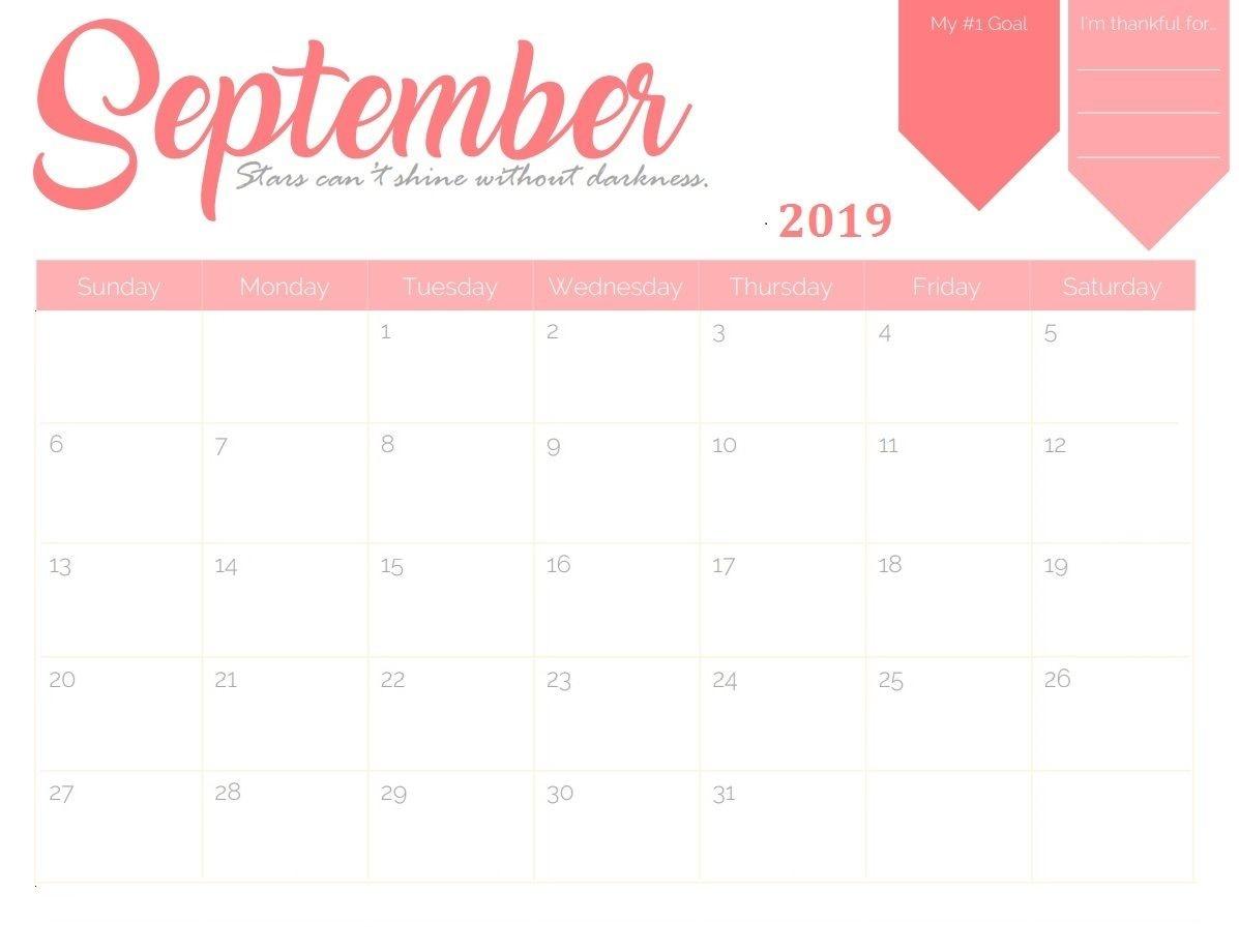 September 2019 Goal Planner Calendar In 2019 | September-Monthly Goal Calendar Template