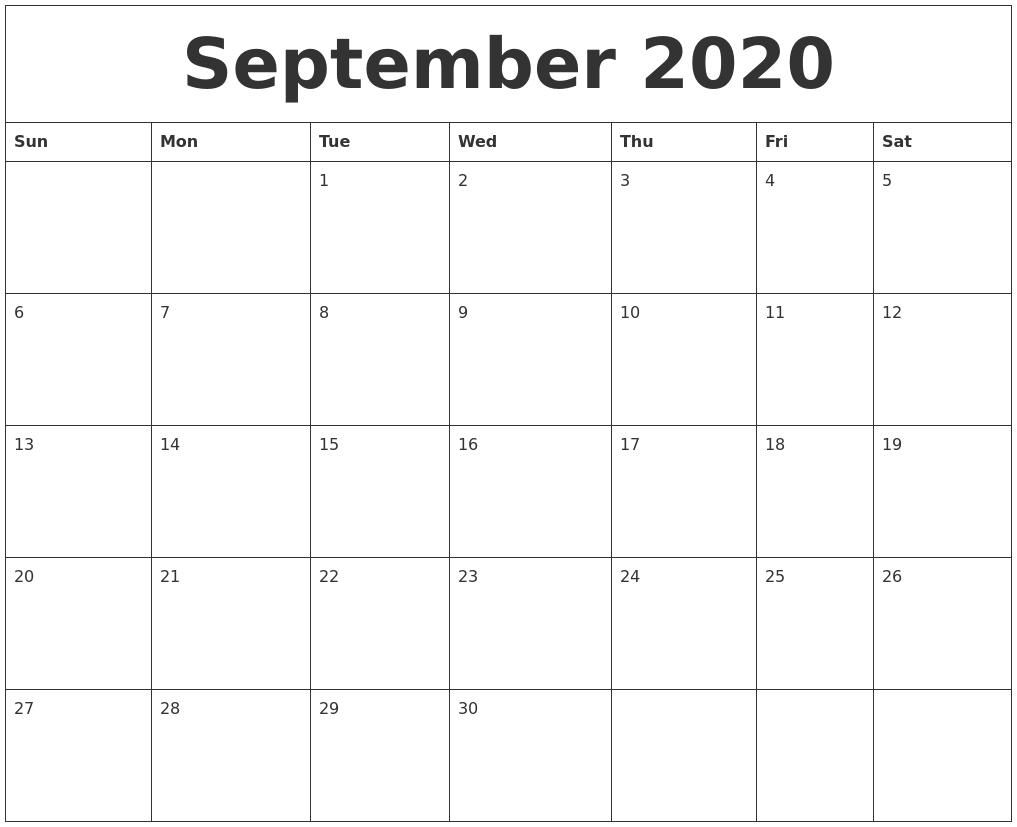 September 2020 Monthly Printable Calendar-Blank Calander Print Out Starting Monday