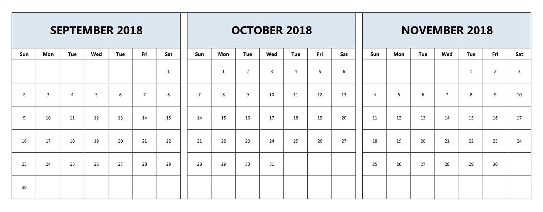 September October November 2018 Calendar Printable Three-Blank Calendar Printable Three Months Togather