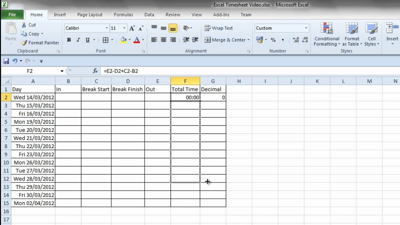 Simple Excel Timesheet-Hour Countdown In Excel Template