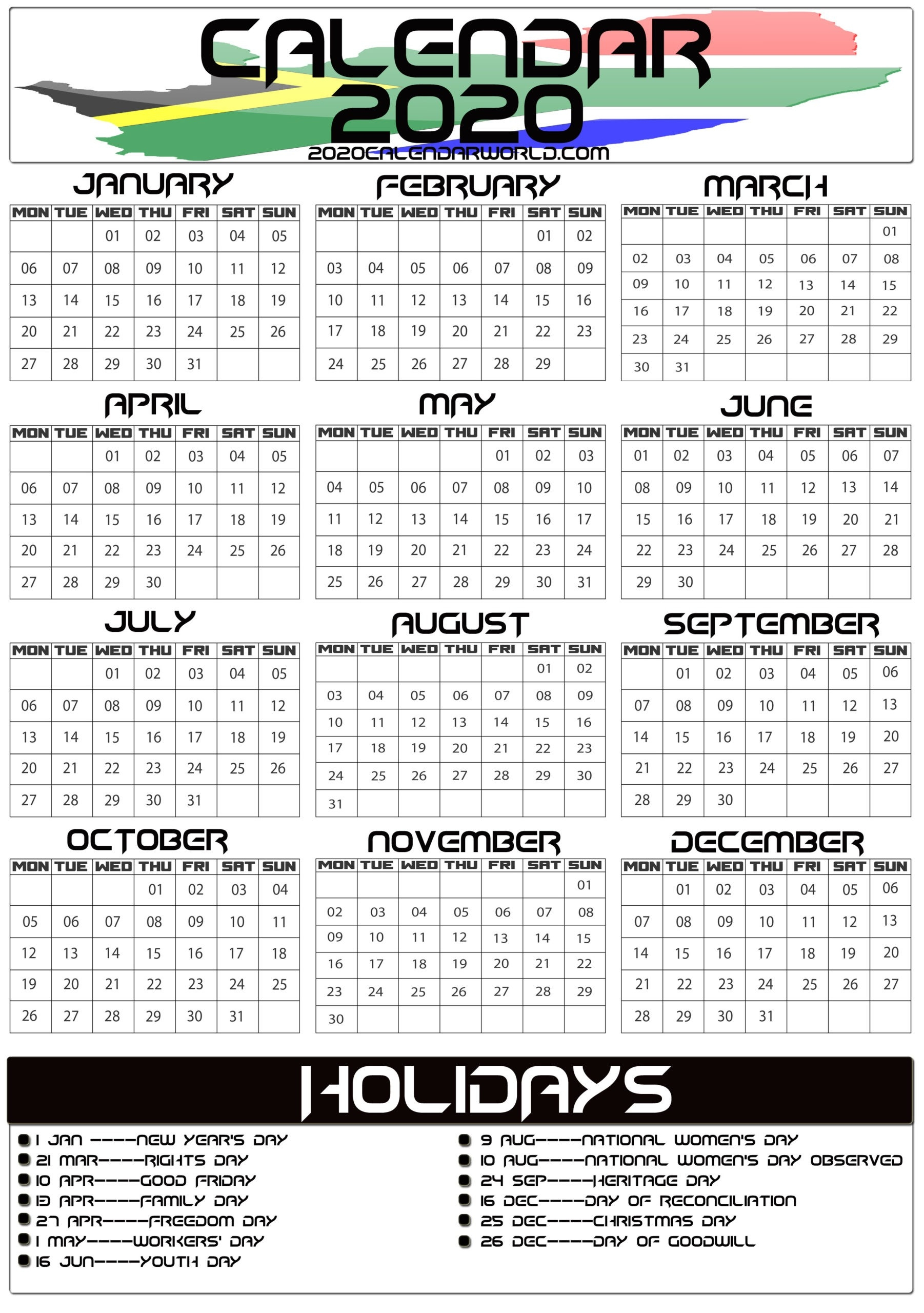 South Africa 2020 Calendar With Holiday Printable Template-South Africa Holidays 2020