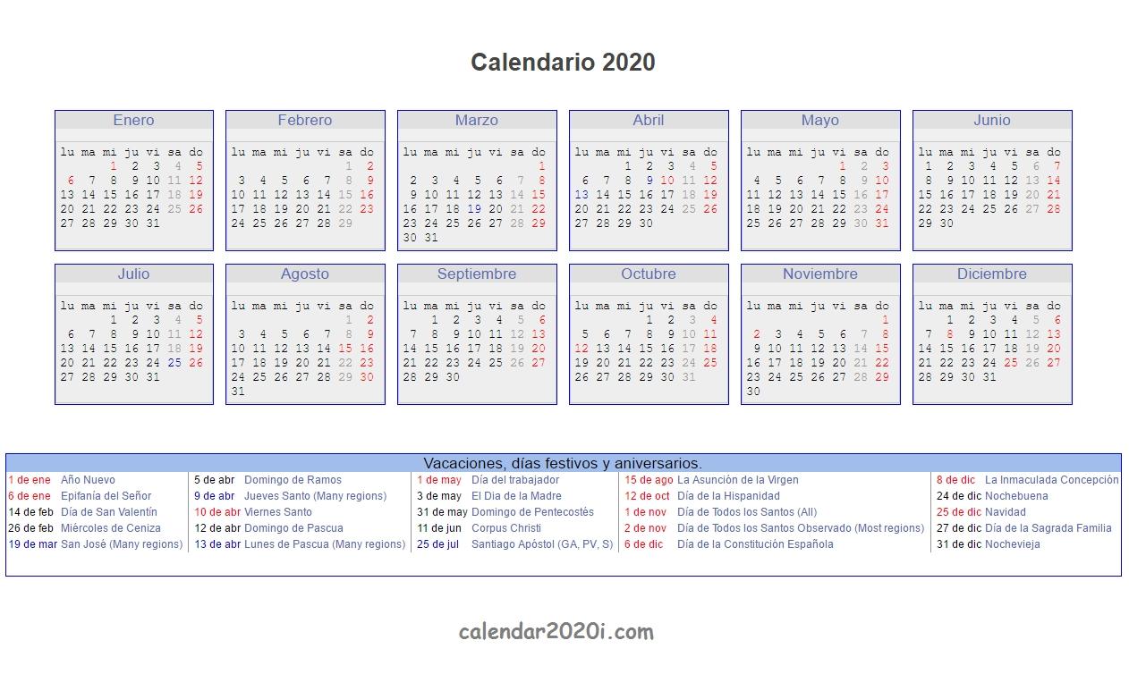 Spanish 2020 Printable Calendar With Holidays, Festivals-Bank Holidays 2020 Europe Calendar