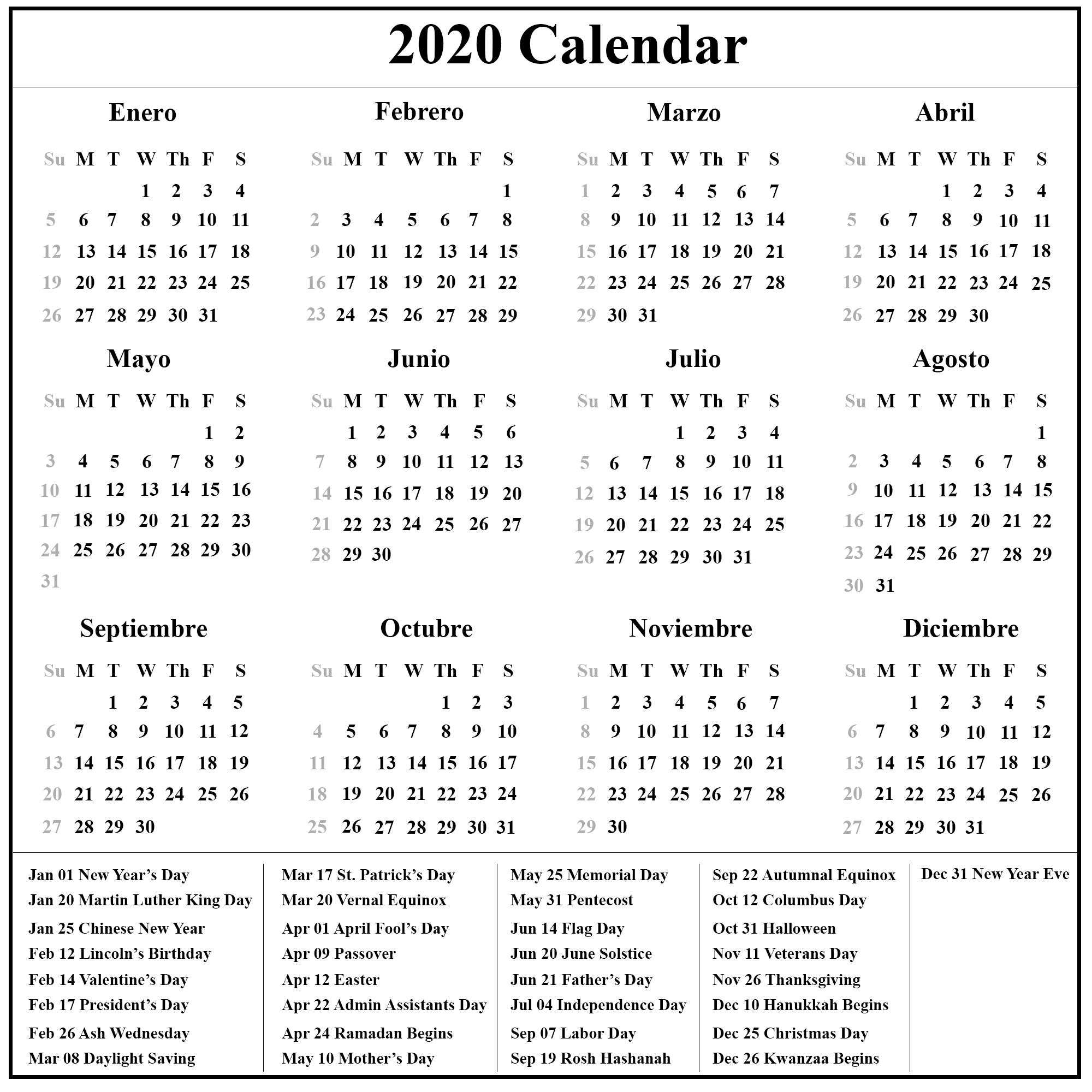 Spanish Calendar 2020| 2020 Calendario | Calendar Top-Bank Holidays 2020 Europe Calendar