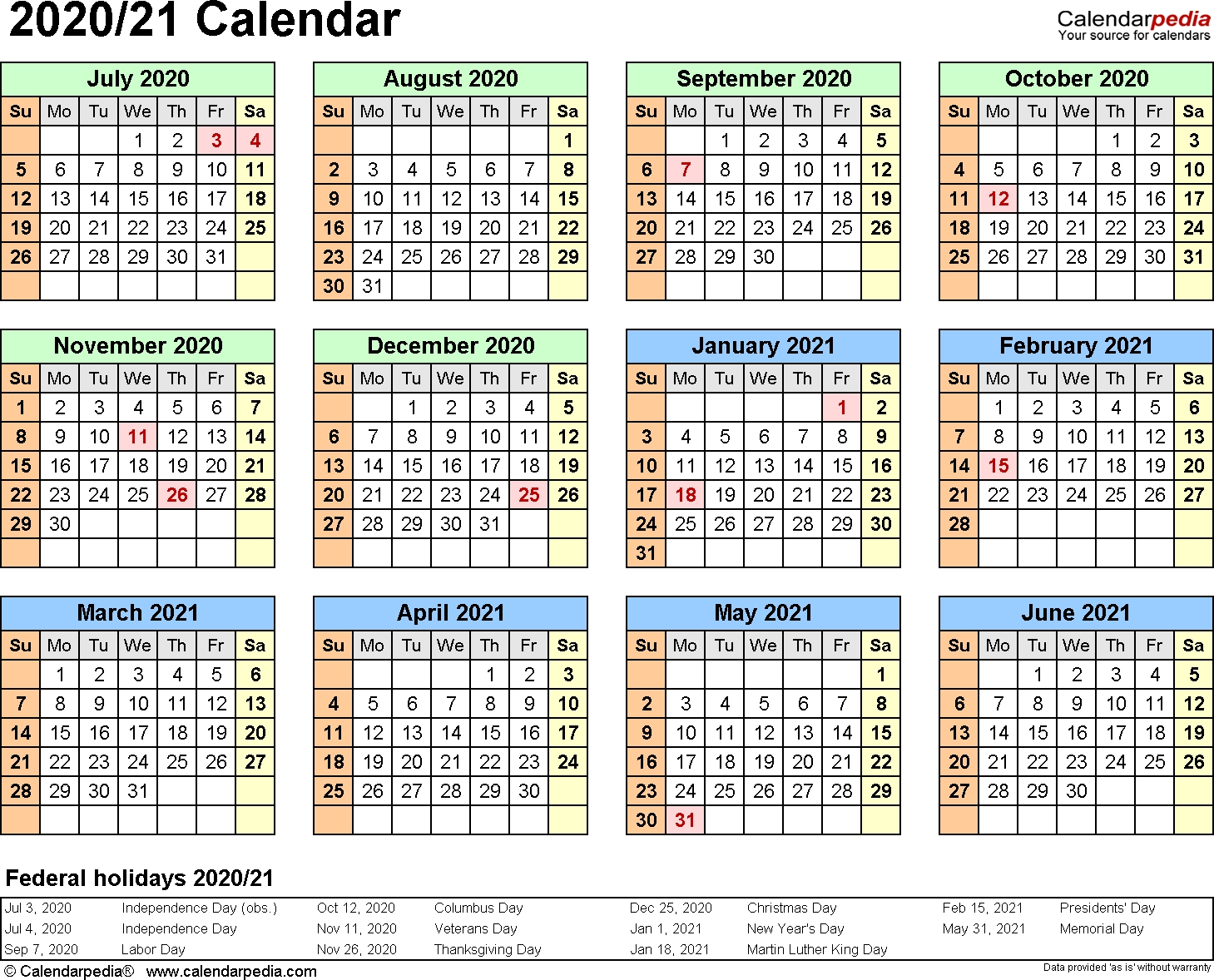 Split Year Calendars 2020/2021 (July To June) - Word Templates-Microsoft Word 2020 Calendar Template