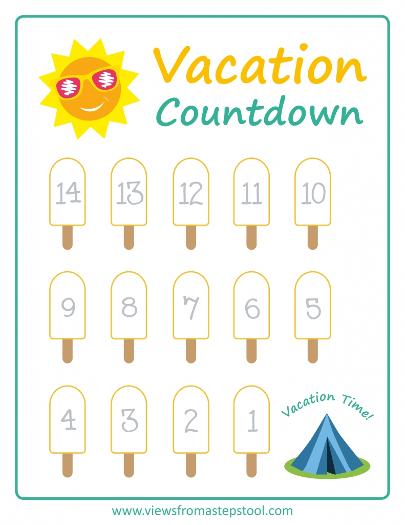 Summer Vacation Countdown Printables - Views From A Step Stool-Holiday Countdown Template Printable