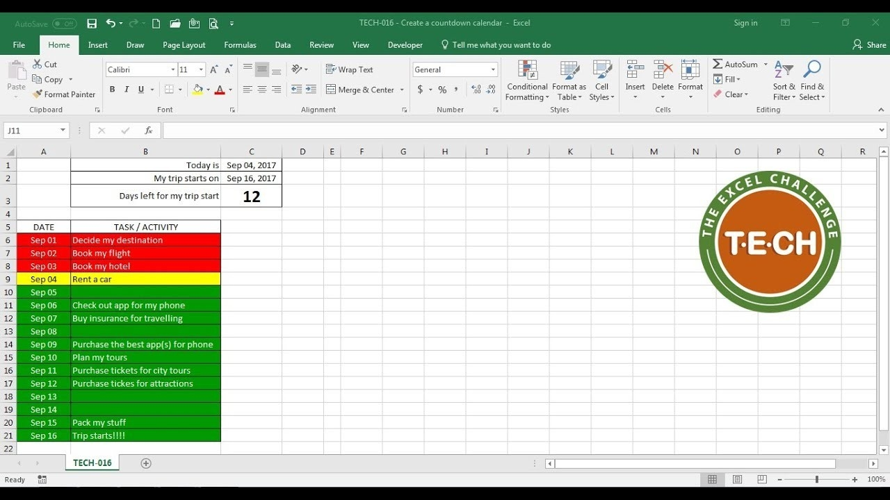 Tech-016 - Create A Countdown Calendar And Combine It With Conditional  Formatting For Each Task-Excel Template Countdown Calendar