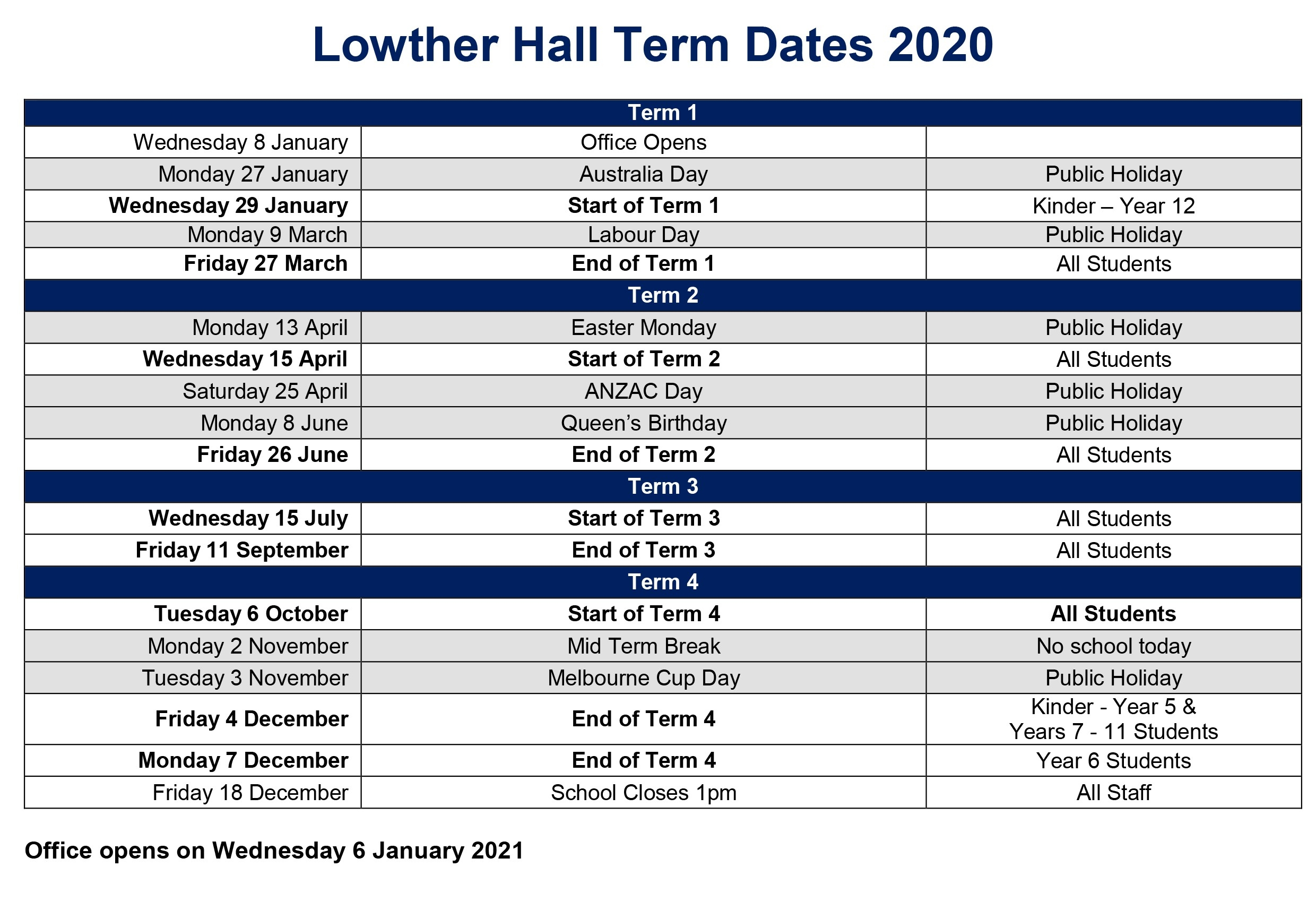 Term Dates - Lowther Hall-Lowther Hall School Holidays