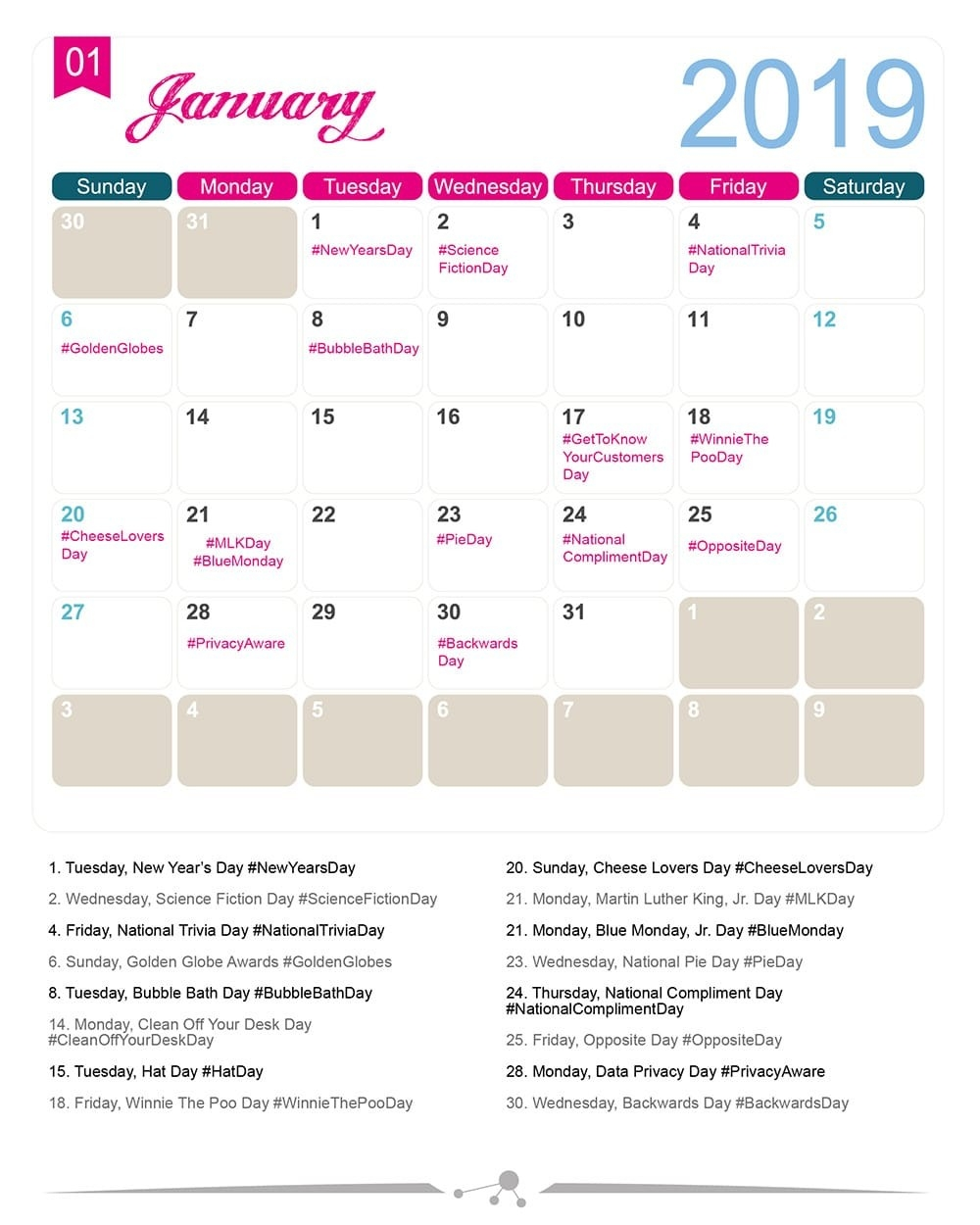 The 2019 Social Media Holiday Calendar - Make A Website Hub-National Food Day Monthly Calendar