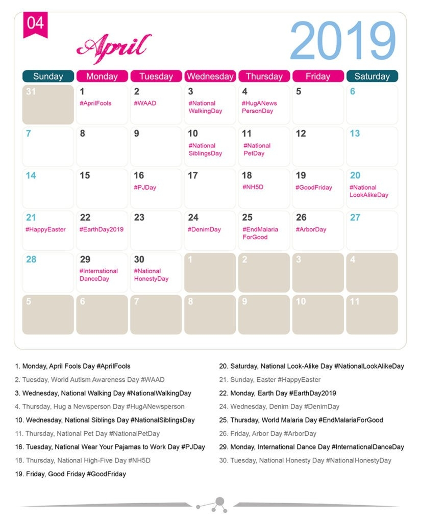 The 2019 Social Media Holiday Calendar - Make A Website Hub-National Food Holidays Calendar Download