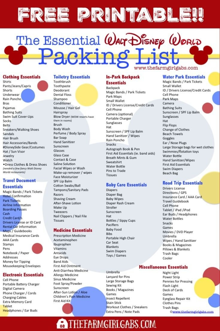 The Essential Walt Disney World Packing List | Disney World-Disney World Word Document Template
