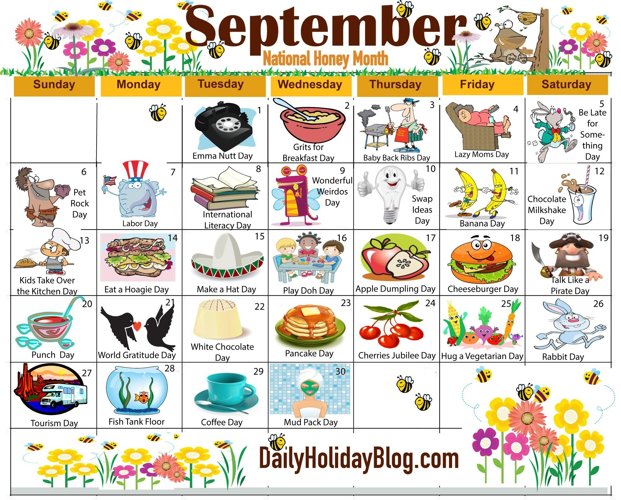 The New Free September Holiday Calendar Is Available To-National Food Day Monthly Calendar