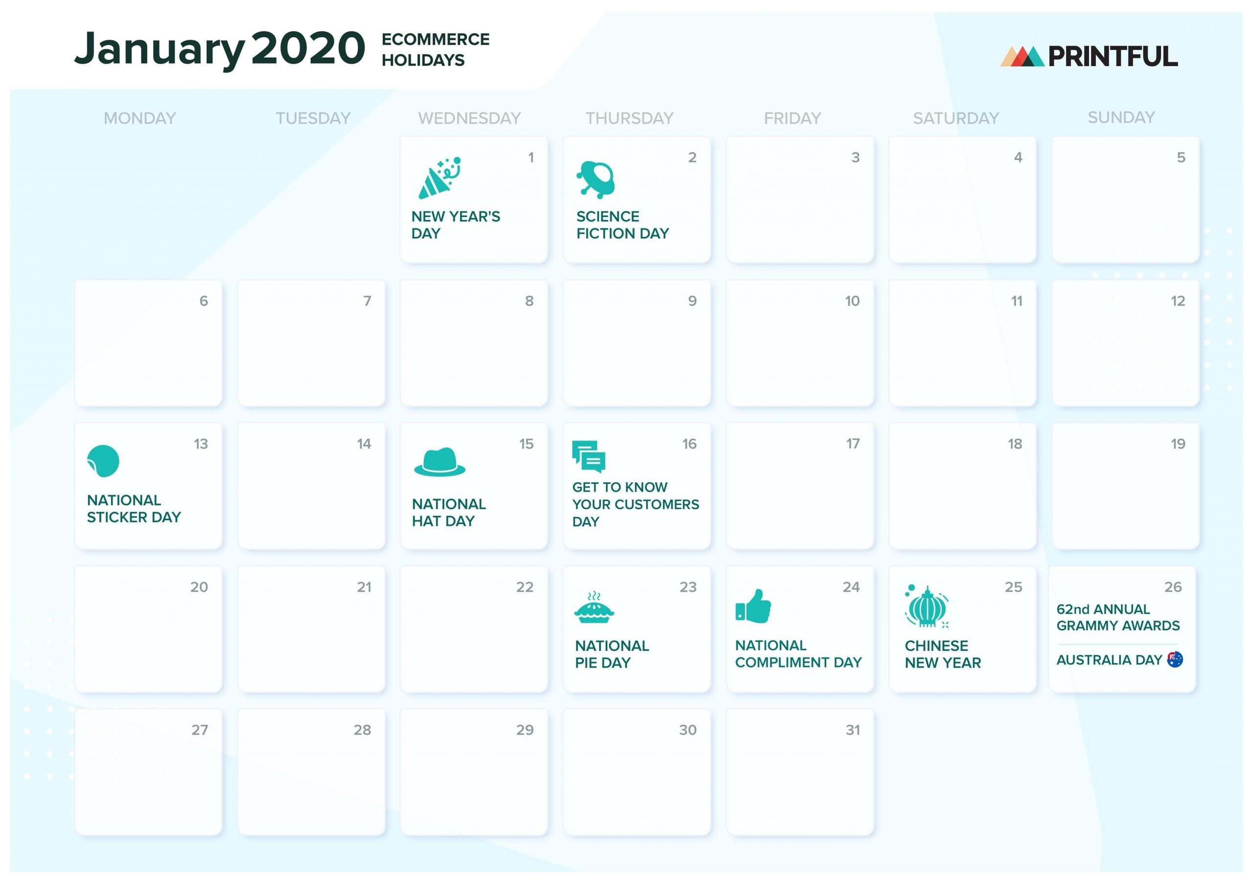 The Ultimate 2020 Ecommerce Holiday Marketing Calendar-National Food Holidays Calendar Download