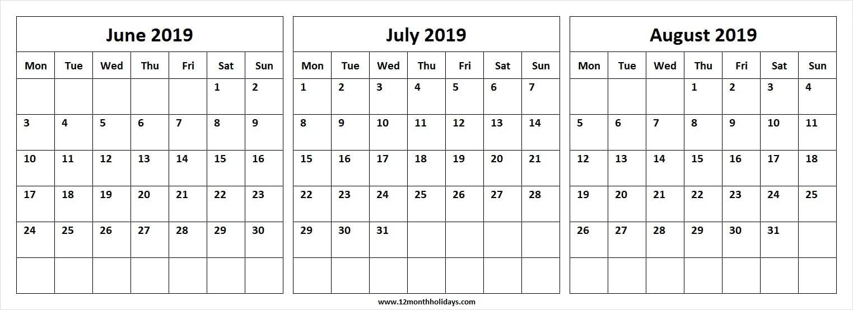 Three Month Calendar June July August 2019 | Editable-Blank Calendar June July August