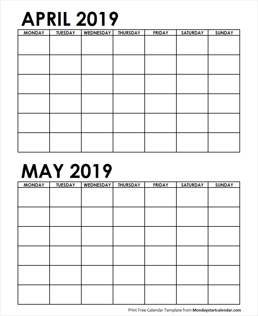 Two Month April May 2019 Calendar Blank | Two Months Template-Blank Printable 2 Month Calendar
