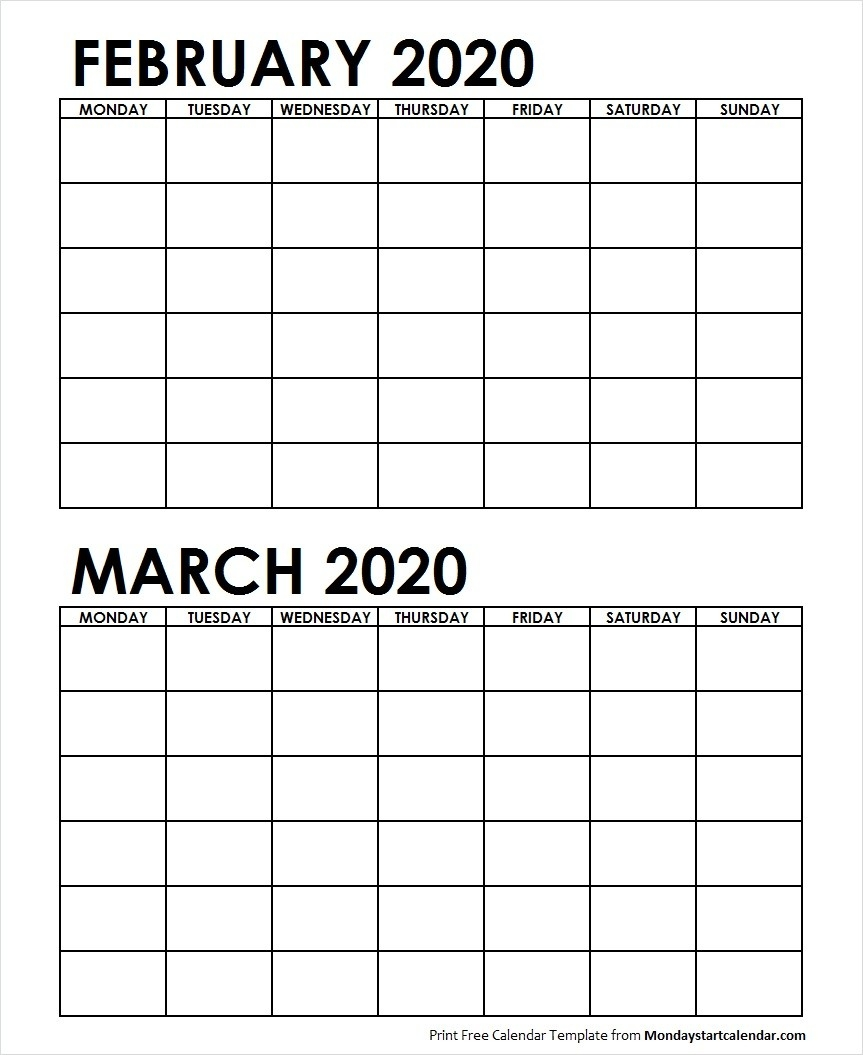 Two Month February March 2020 Calendar Blank Template-Blank Printable 2 Month Calendar