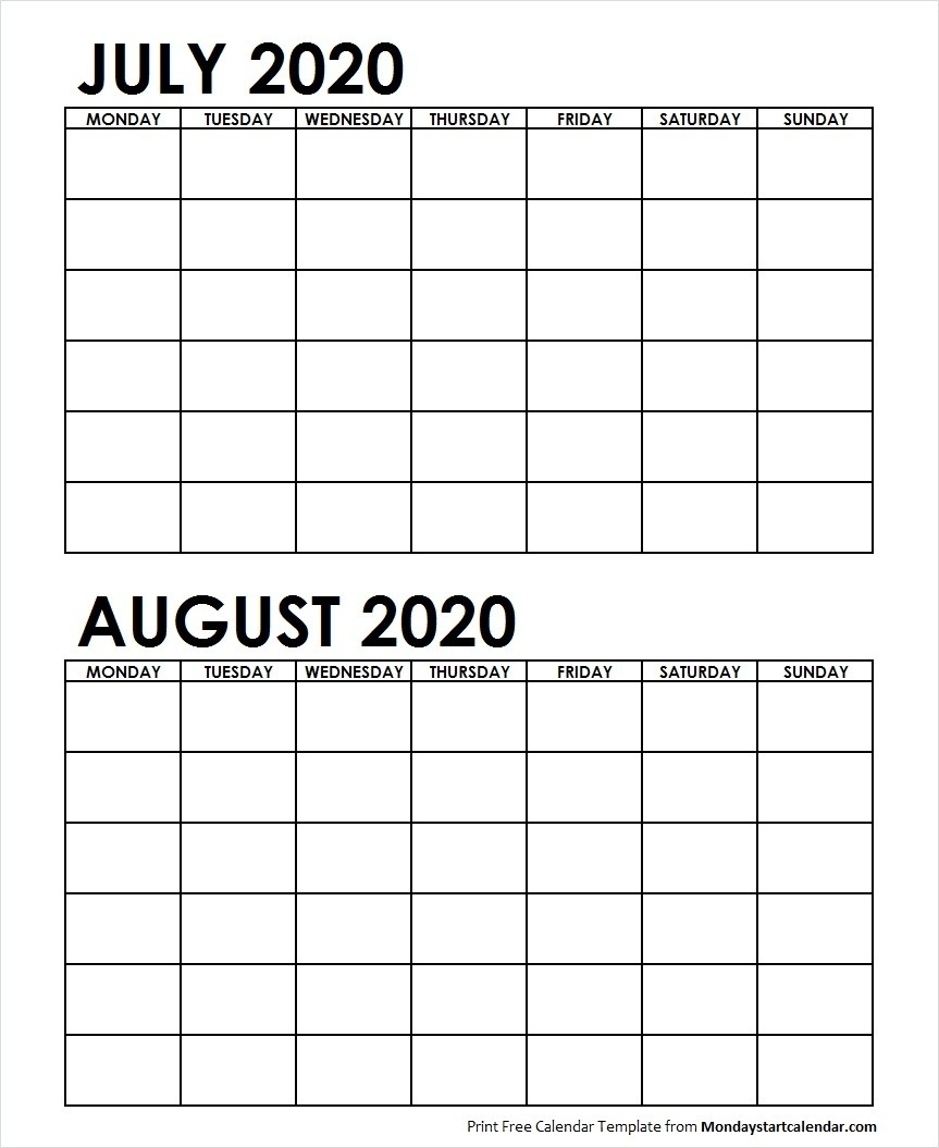 Two Month July August 2020 Calendar Blank | Two Months Template-Monthly Calendar July August 2020