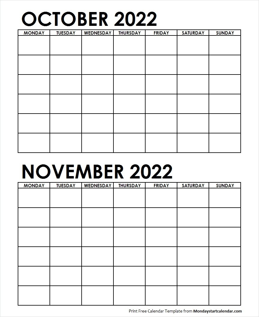 Two Month October November 2022 Calendar Blank-Blank Printable 2 Month Calendar
