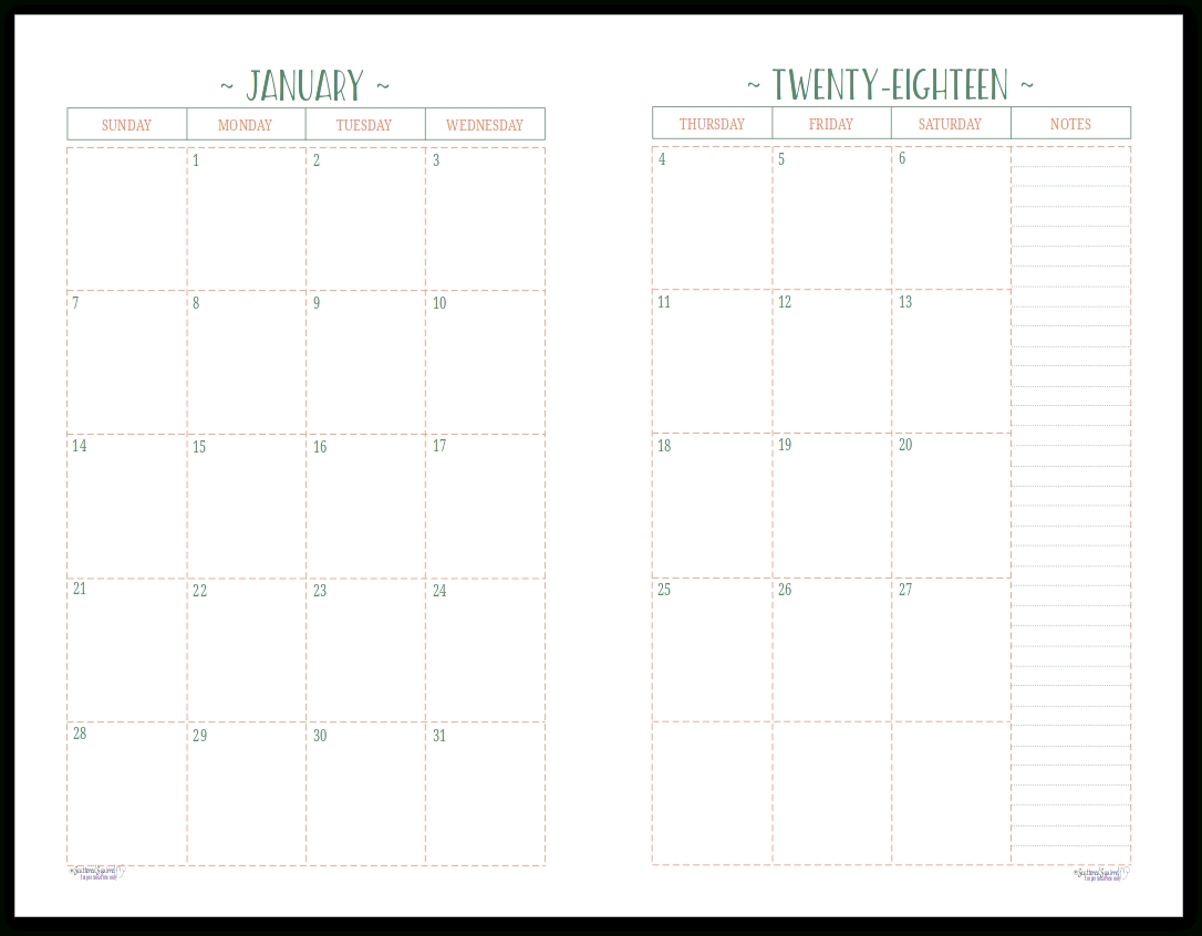 Two Page Per Month 2018 Dated Calendars Are Ready | Free-Free Two Page Monthly Planner Templates