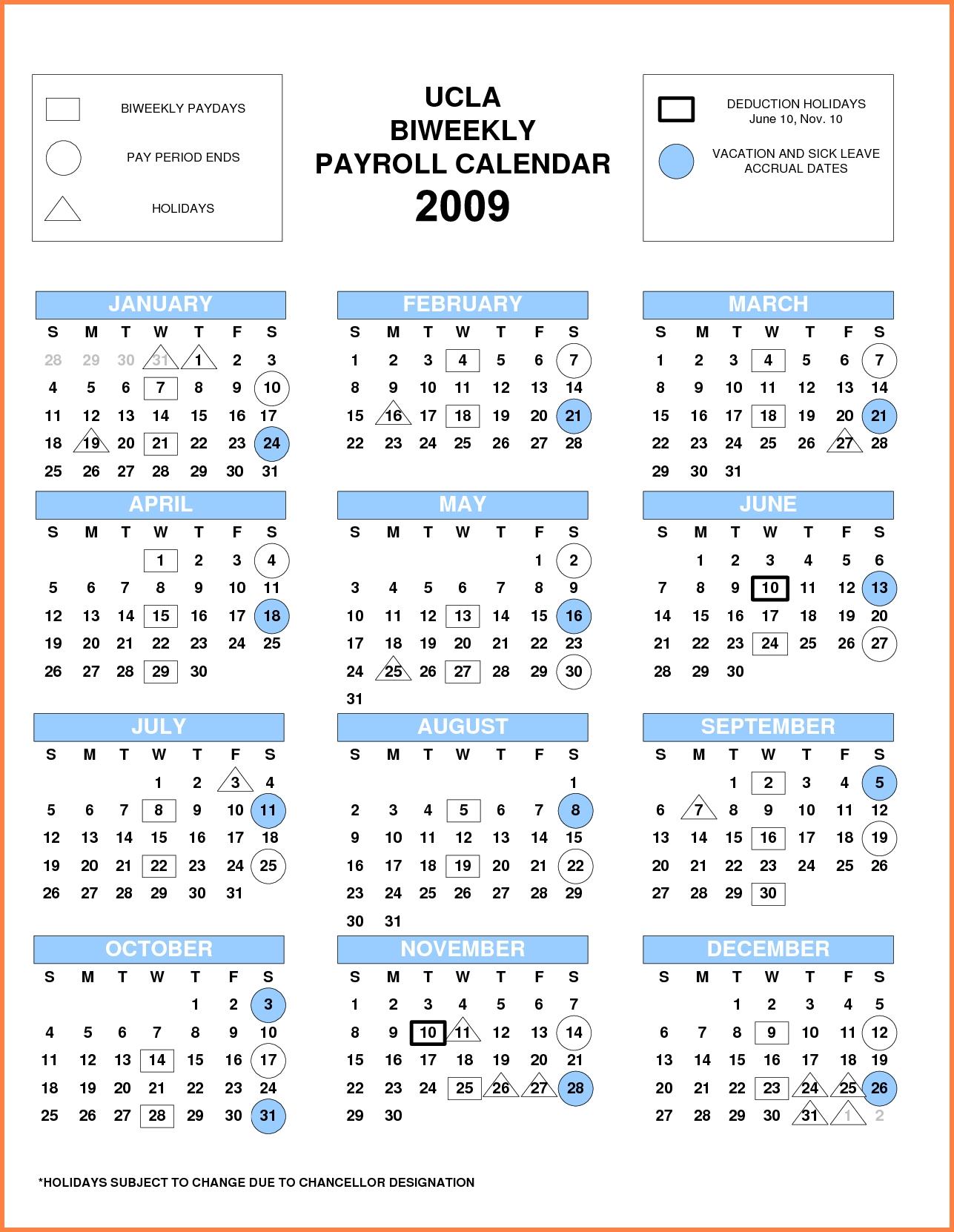 Ucla 2019 Biweekly Payroll Calendar | Payroll Calendars-2020 Bi Weekly Calendar Template
