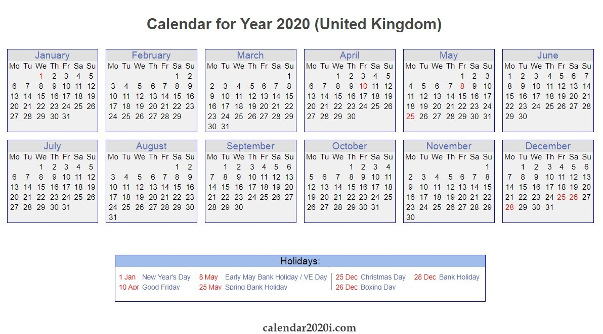 Uk 2020 Calendar Printable, Wallpapers, Holidays, Pdf, Excel-2020 Calendar Showing Bank Holidays