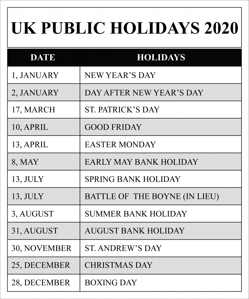 Uk Public Holidays 2020 Calendar | Uk Holidays 2020-2020 Calendar Showing Bank Holidays