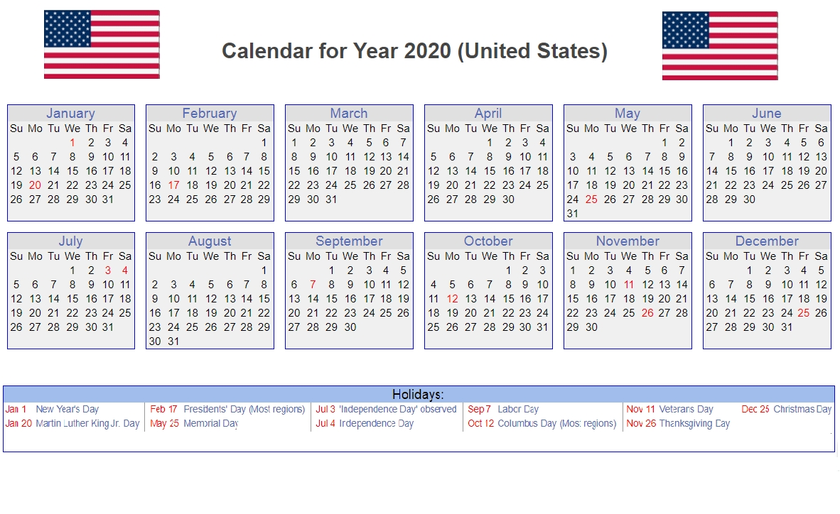 Us 2020 Calendar Yearly 12 Month Printable | Calendar 2020-Printable 2020 Calendar With Holidays Usa