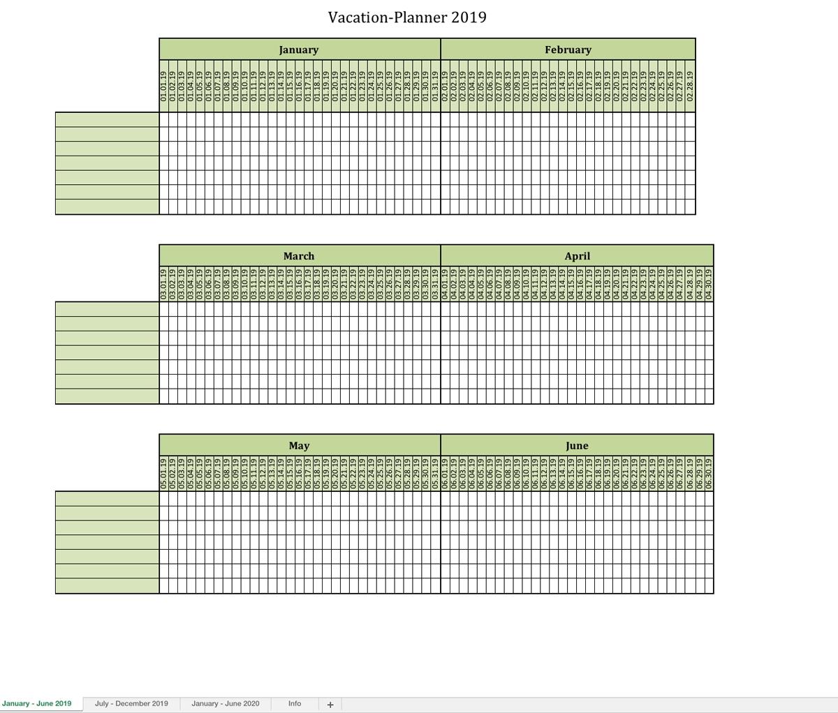 Vacation-Planner 2019-Employee Vacation Calendar Template