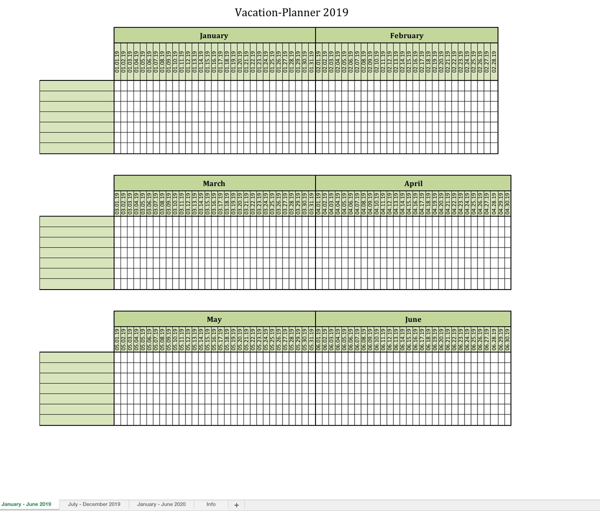 Vacation-Planner 2019-Printable Employee Vacation Calendar 2020 Template