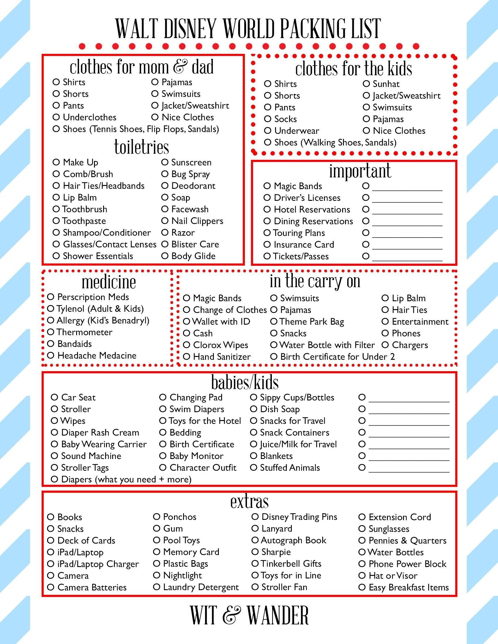 Walt Disney World Free Printables | Disney World Packing-Disney World Word Document Template