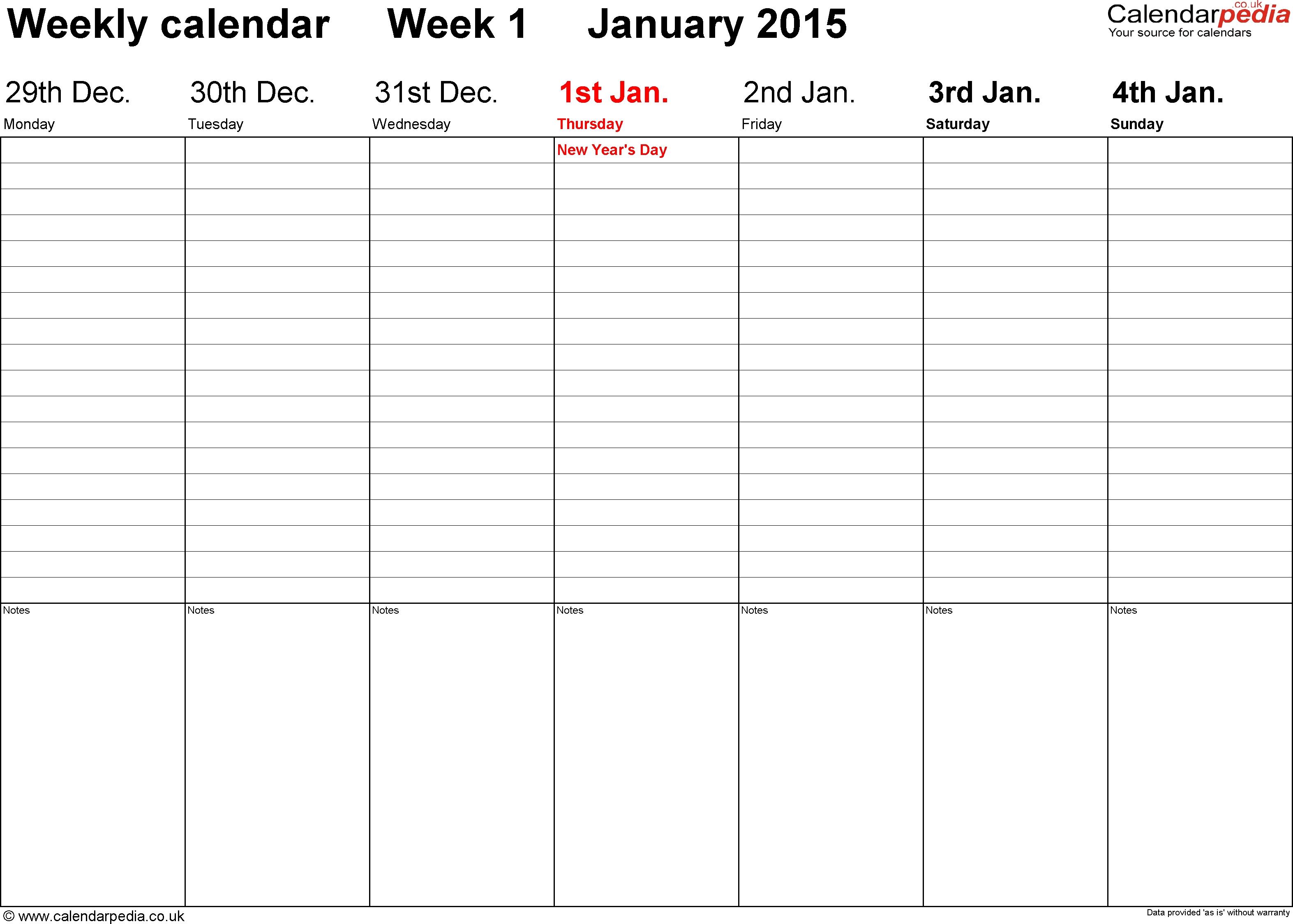 Weekly Calendar Template 2015 - Free Download-Blank Calendar Five Day