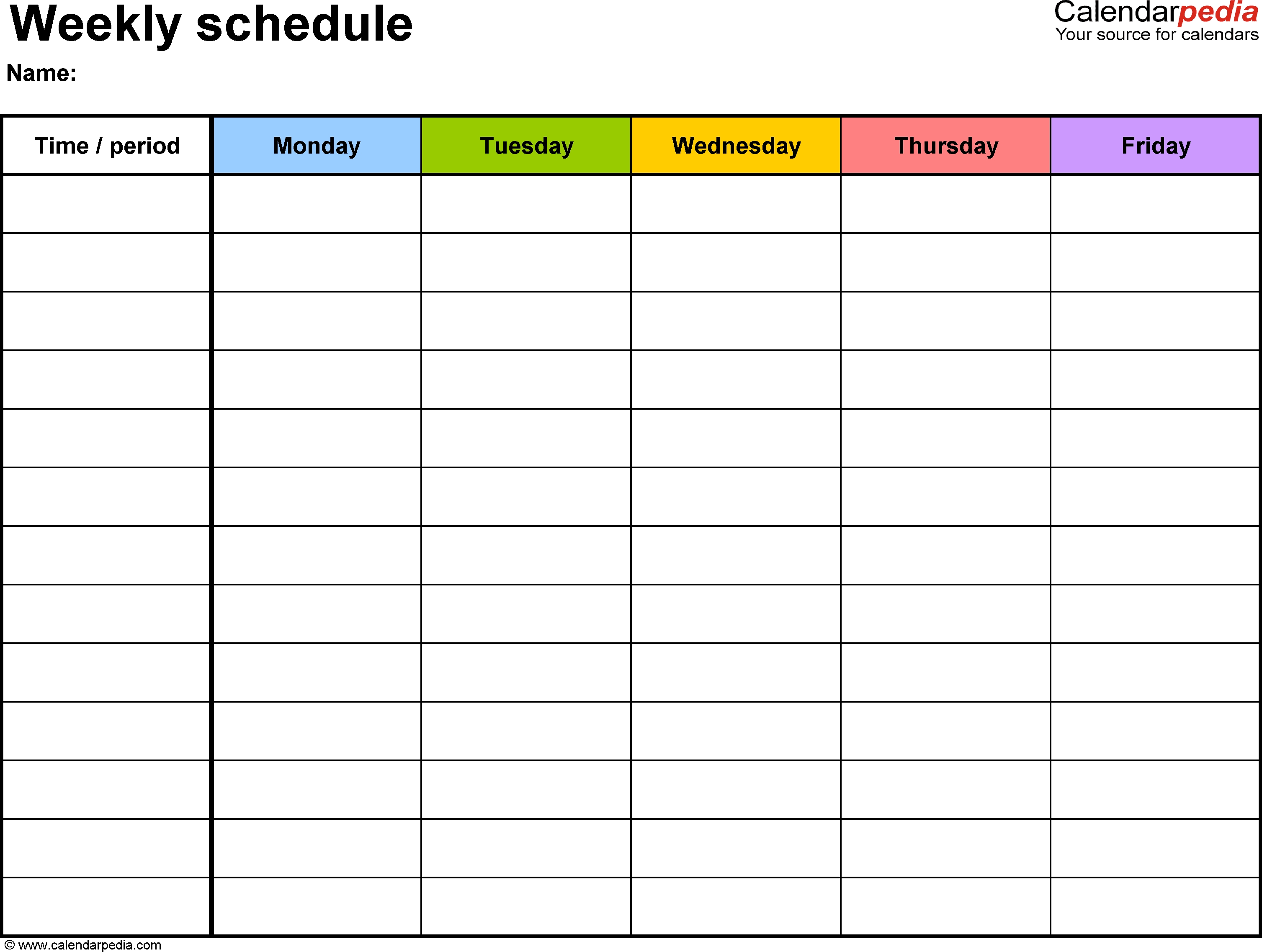 Weekly Schedule Template For Word Version 1: Landscape, 1-Monday Through Friday Schedule Template