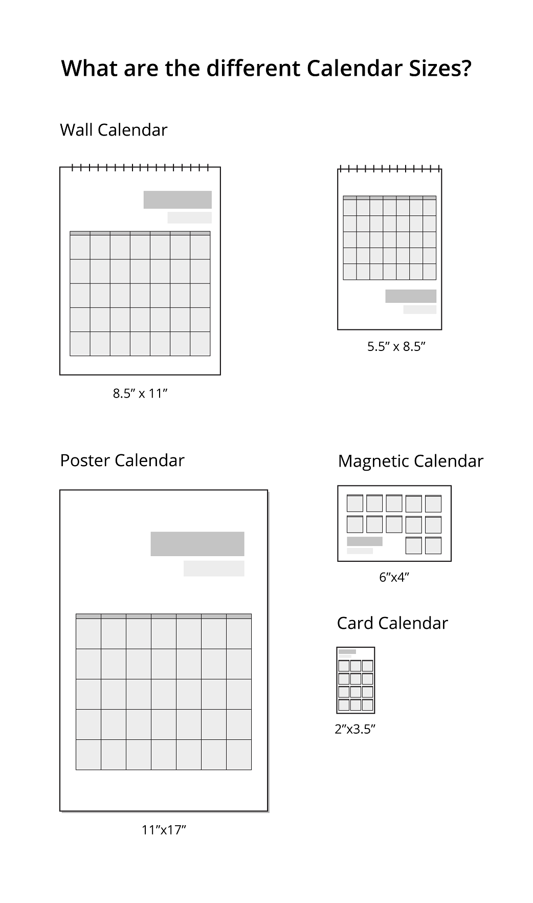 What Are The Different Calendar Sizes? | Uprinting-4X6 Monthly Printable Planner Calendar