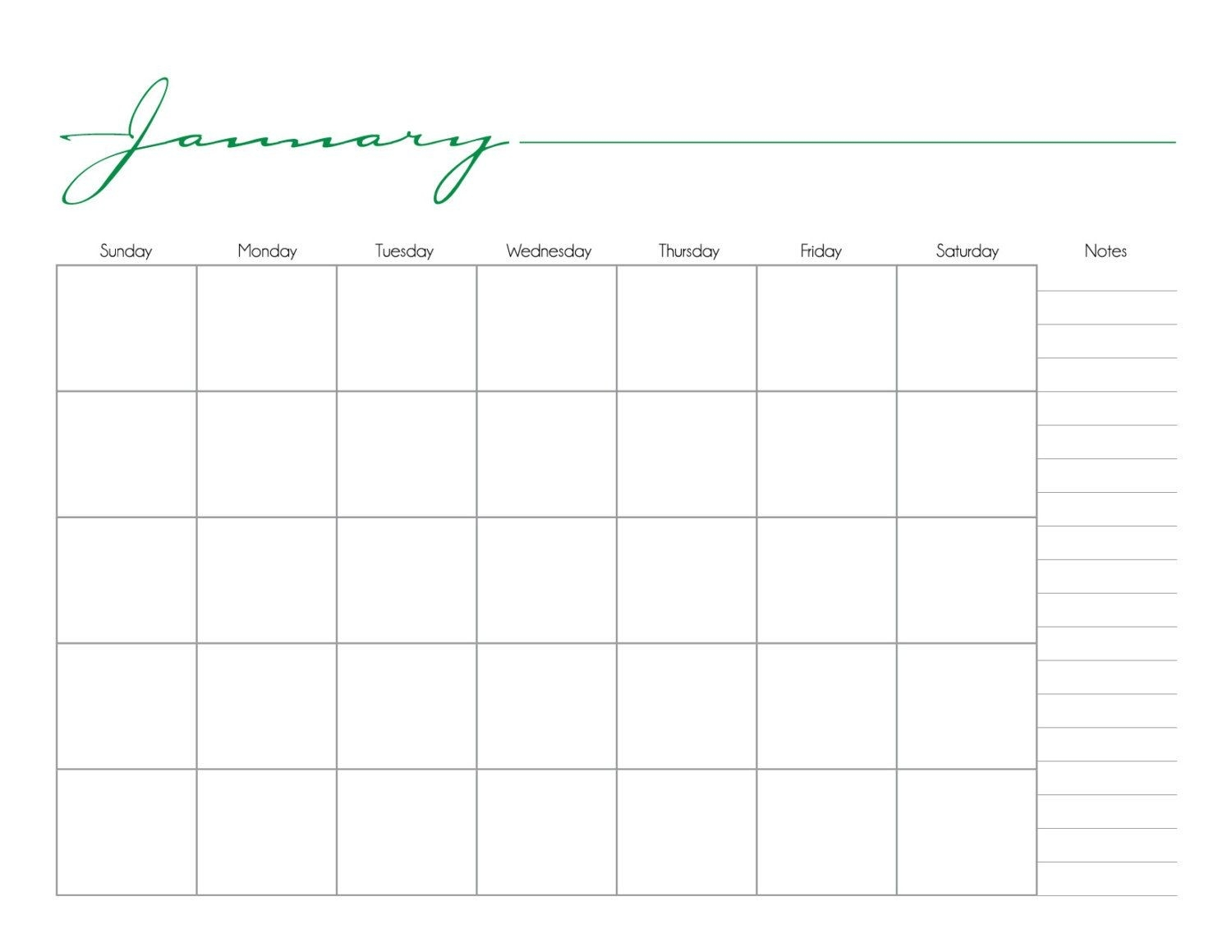 Whimsical Printable Monthly Calendar No Date / By-Blank Calendar No Dates