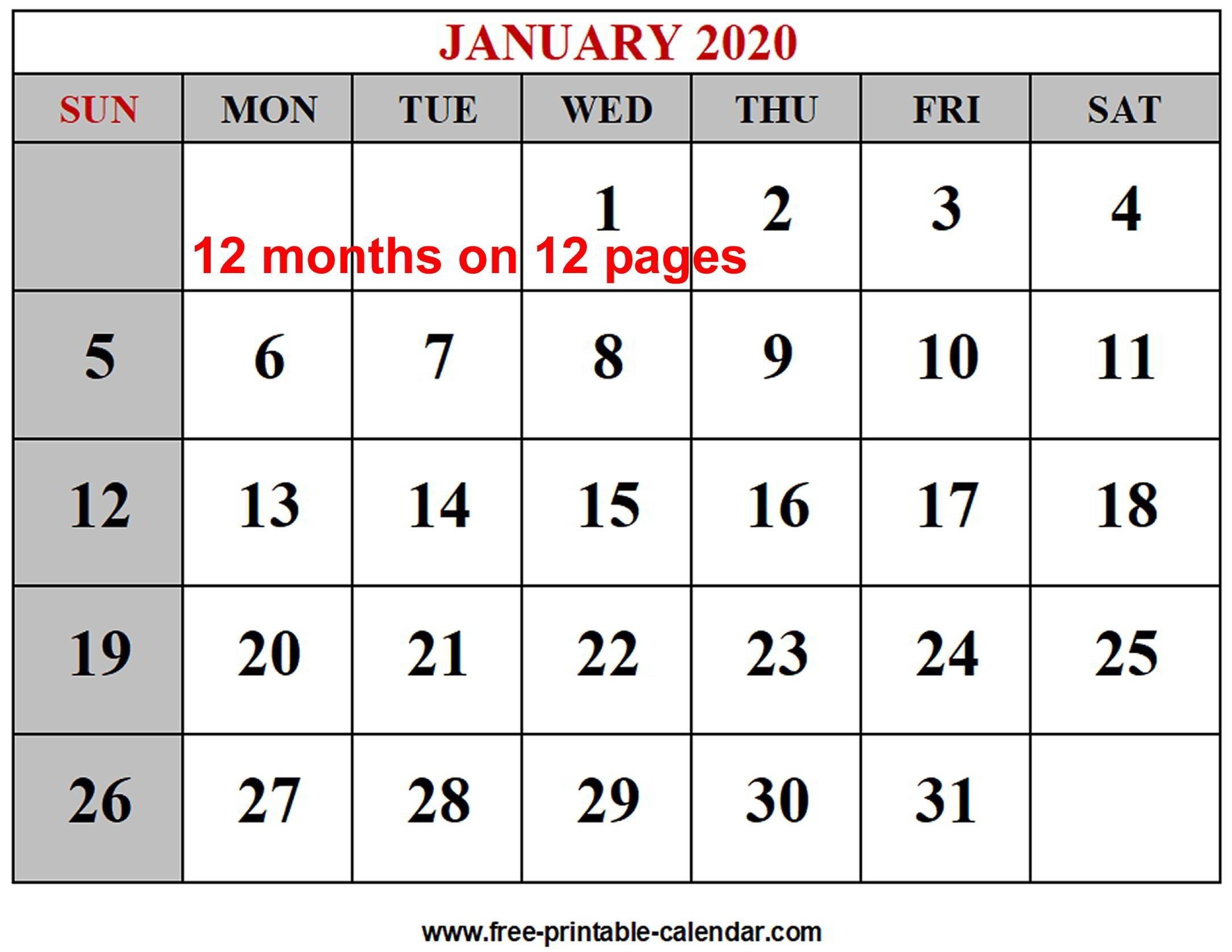 Year 2020 Calendar Templates - Free-Printable-Calendar-2 Monthly Printable Calender