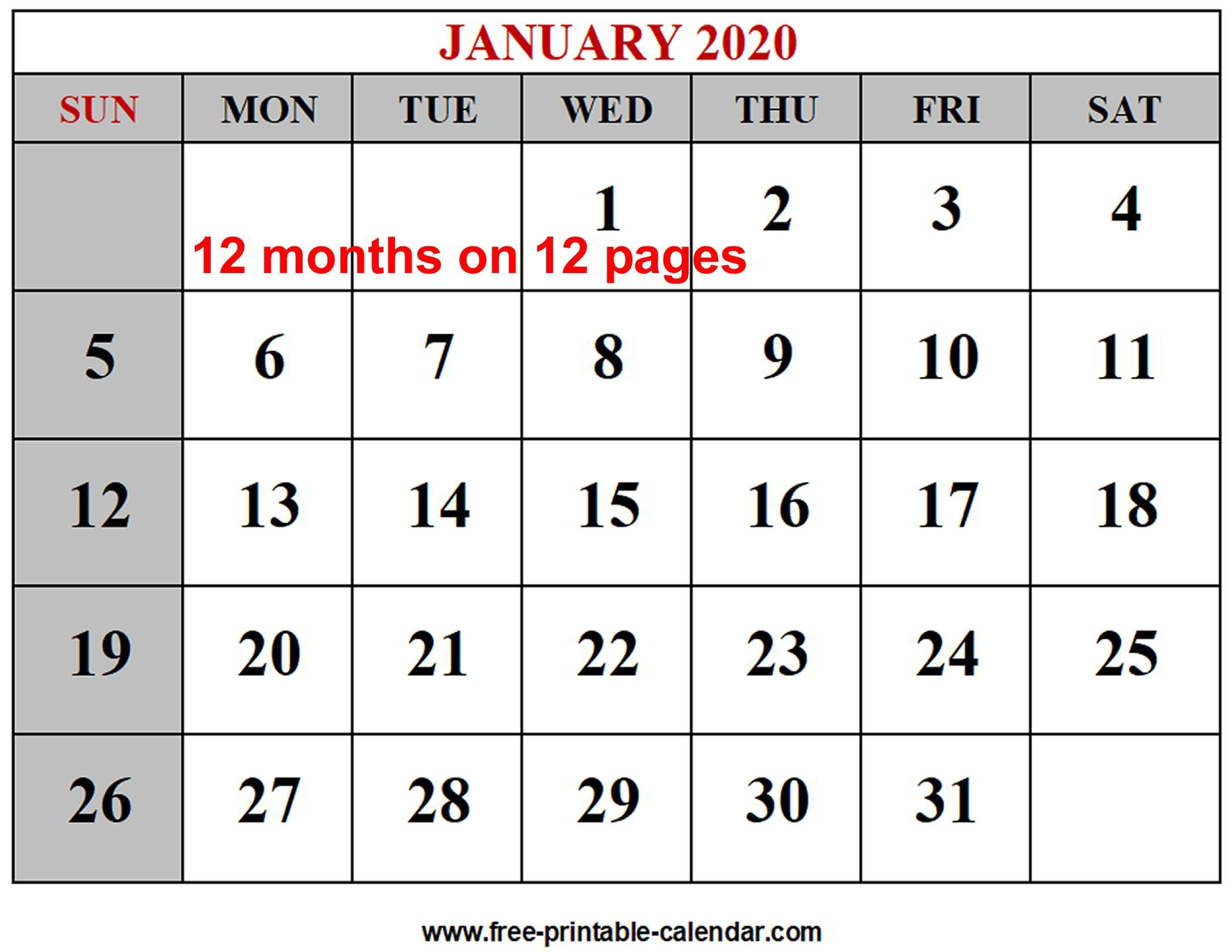 Year 2020 Calendar Templates - Free-Printable-Calendar-Monthly Calendar Sheets 2020