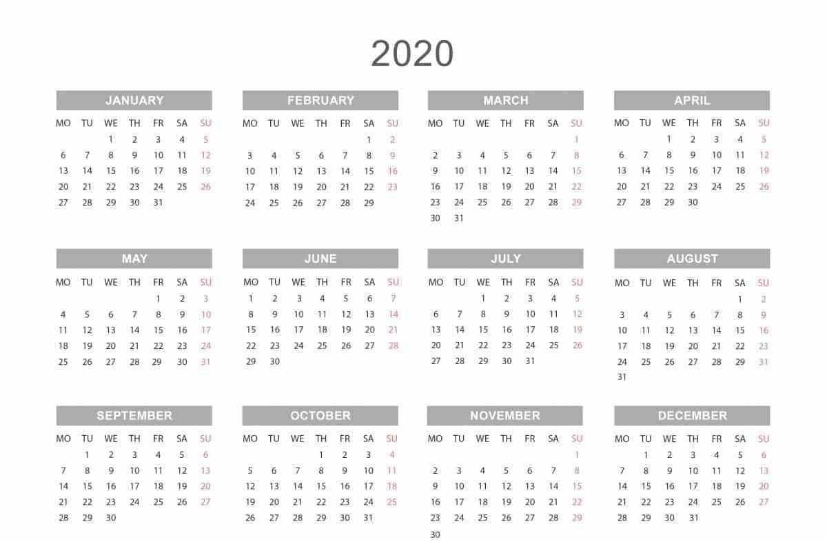 Yearly Calendar 2020 | Weekly Calendar Template, Printable-Free Microsoft Word Calendar Template 2020