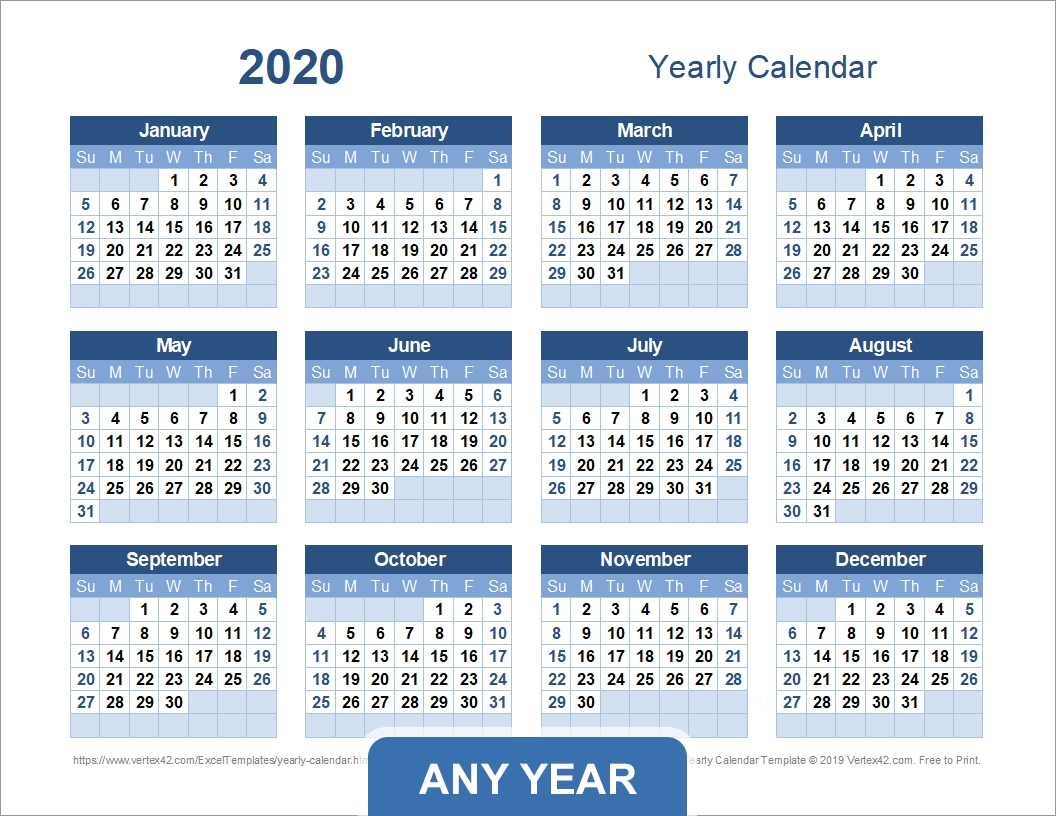 Yearly Calendar Template For 2019 And Beyond-Blank 2020 W 9