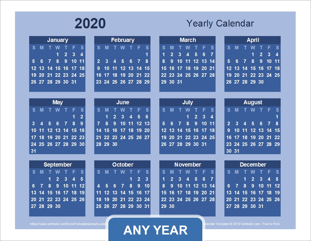 Yearly Calendar Template For 2019 And Beyond-Calendar Template By Vertex42