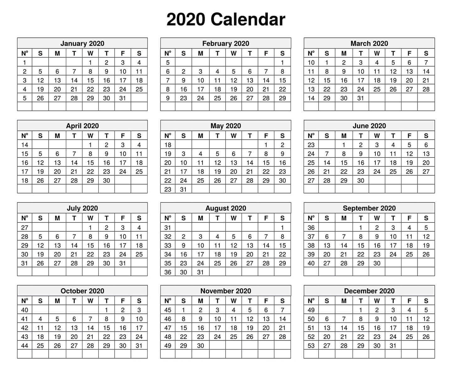 Yearly Calendar Template With Notes 2020 - 2019 Calendars-2020 Month At A Glance Calendar Template