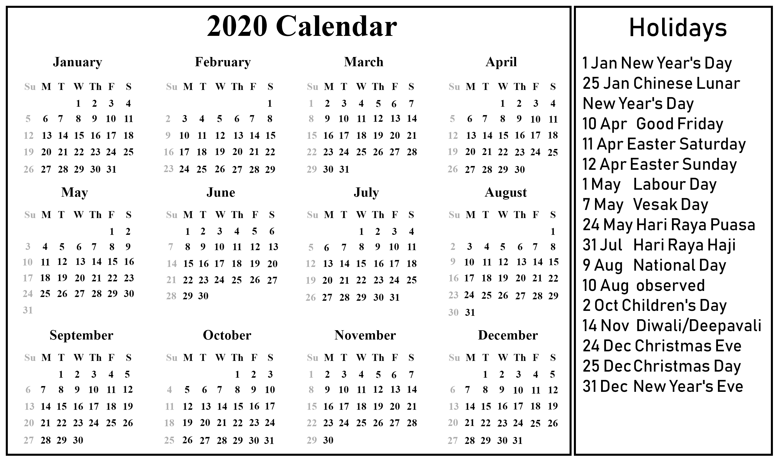 12 Month 2020 Printable Calendar Template With Holidays-2020 Calenderwa School Holidays Printable