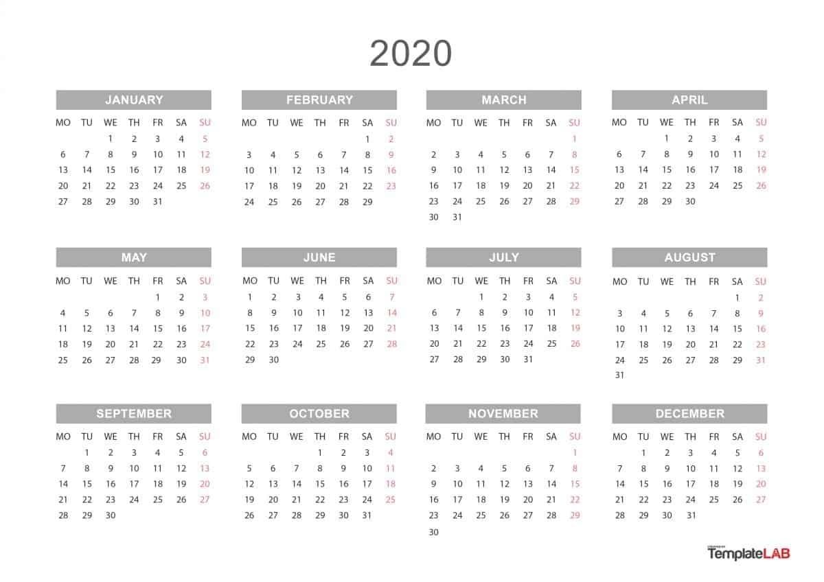 12 Month Free Printable Calendar 2020 | Printable Calendar 2020-Calendar Labs Monday Start Monthly Calendar